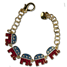 Red, White and Blue Crystals with White Enamel Stars adorn this 5 elephant bracelet in the shape of the Republican logo. Just in time for election season!