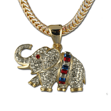 Beautiful Crystal Elephant with Baguette Cut Red, White and Blue Crystals. Truly a unique piece. 1.5""