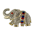 "This truly unique piece (1.5"") elephant brooch features Baguete cut red, white and blue crystals."