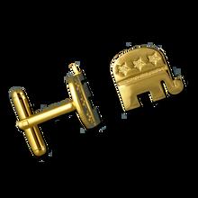 Gold plate Republican logo cuff links