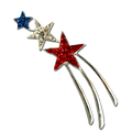 Make a wish! This pin features red white and blue crystals with a silver tail. This pin is approx 2""