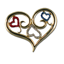 "This patriotic heart pin includes a unique scroll design with Red, White and Blue crystals.(Approx.  2""w x 1.25""h)"