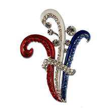 Beautiful Red, White and Blue Crystals set in red, white and blue enamel.