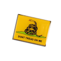 """Don't Tread on Me"". The Gadsden flag is a historical American flag with a yellow field depicting a rattlesnake coiled and ready to strike."