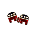"""Republican logo earrings in red and blue enamel , white enamel stars and gold-plate. (05""""W x 0.5""""H)"""