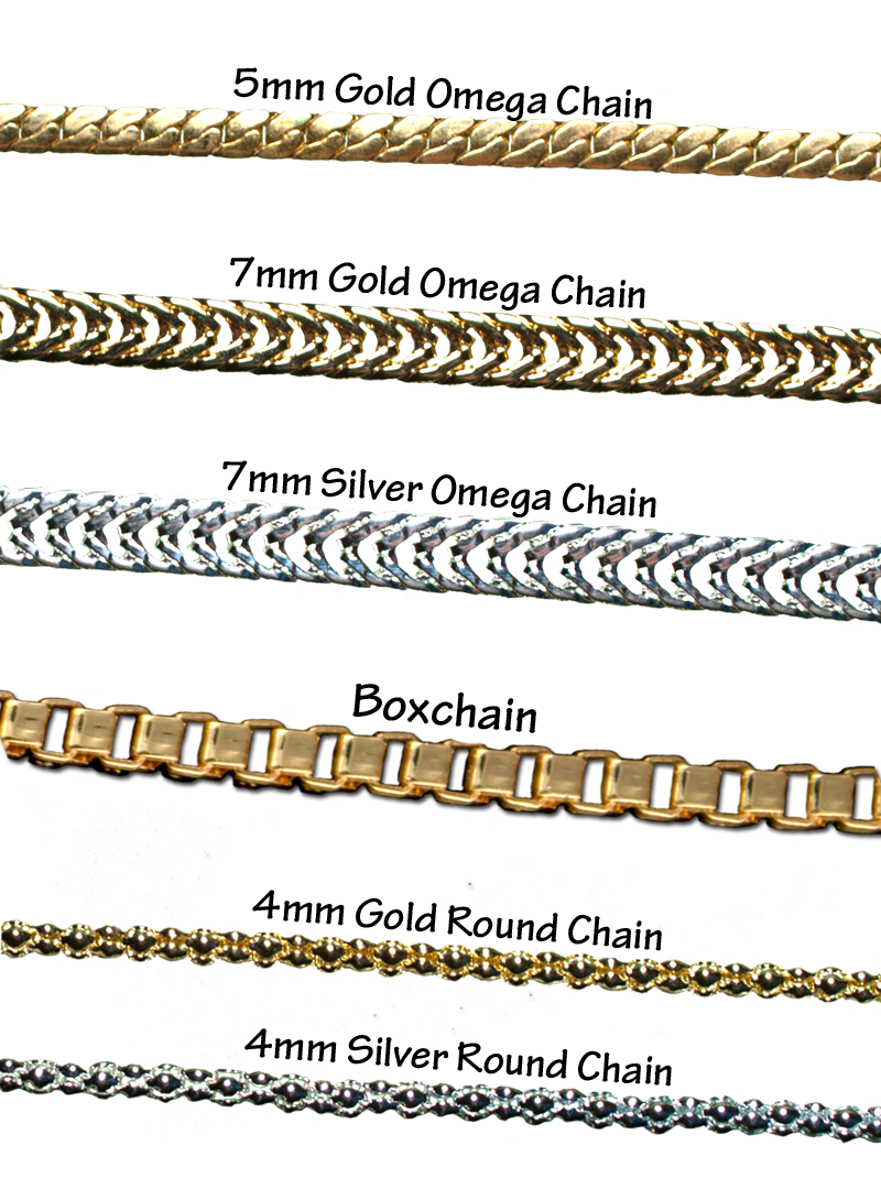 Gold and silverplate chains in Omega, round and box chain ...