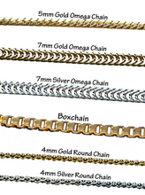 "Gold and silverplate chains in Omega, round and box chain styles. All Chains are 15"" adjustable to 19""."