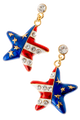 "American flag star shaped drop earrings in red, white and blue enamel, with gold plate stars and diamond like crystals. Drop approx 1.5"", post back, goldplate, lead free."