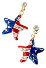 """American flag star shaped drop earrings in red, white and blue enamel, with gold plate stars and diamond like crystals. Drop approx 1.5"""", post back, goldplate, lead free."""