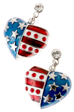 "American flag heart shaped drop earrings in red, white and blue enamel, with silver-plate stars and red diamond like crystals. Drop approx 1.5"", post back, silver plate, lead free."
