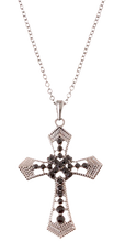 """A beautiful cross pendant necklace (chain included) with cut outs and hermalite crystals. Length approx 20"""", pendant 1"""" x 1.5"""", lobster claw clasp with 3"""" extender, lead compliant. Color hermalite."""