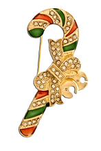 """Adorned with diamond like crystals, this multi-colored brooch in the shape of candy cane is a great addition for the Christmas season. Size: approx 1"""" x 2"""", goldplate, pin backing, lead compliant."""