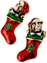 Cute puppies stare out from these earrings just in time for the holiday season. The multi colored enamel is trimmed with goldplate to enhance the features. Post back, lead free.