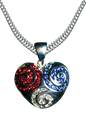 """A beautiful silverplate patriotic neckslide/pendant in the shape of a raised heart with swirls of red, white and blue Swarovski crystals. Size: 1.25""""H x 1""""W."""