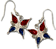 "These earrings feature red white and blue crystals mounted in a silver butterfly. Approx 1"", Euro-wire."