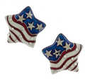 "American flag star shaped earrings with white and red enamel stripes and scattered small crystals. The stars are silver on an enamel blue background. Silverplate, size: 1"" x 1"", post back, lead free."