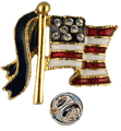 "The American flag lapel pin has small Swarovski crystals for stars set on blue enamel. The stripes are red and white enamel with a blue enamel ribbon attached to the pole. Goldplate, size 0.75""."