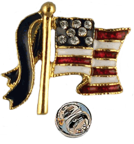"""The American flag lapel pin has small Swarovski crystals for stars set on blue enamel. The stripes are red and white enamel with a blue enamel ribbon attached to the pole. Goldplate, size 0.75""""."""