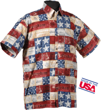 The original freedom patriotic shirt. This shirt is made of 100% combed cotton and is made in the USA. It features matched pockets, real coconut buttons, double-stitching, and side vents so shirt can be worn outside or tucked in.