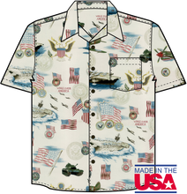 This print features warships,fighter aircraft, tanks as well as the US Marine Corp, Navy, Army, Air Force and Coast Guard seals along with plenty of American flags. This shirt is made of 100% combed cotton and is made in the USA. It features matched pockets, real coconut buttons, double-stitching, and side vents so shirt can be worn outside or tucked in.