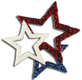 This 3 star brooch and features red and blue crystal stars with a center white enamel star.