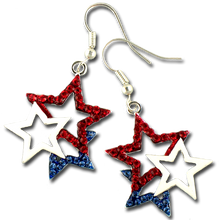 These 3 star dangle earrings feature red and blue crystal stars with a center white enamel star.