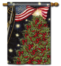 Decorative Christmas flag with Christmas tree adorned with red ribbons, plus beautiful USA American Flag.