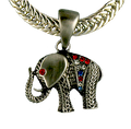 This Elephant neckslide is pewter toned and the jeweled blanket is adorned with red, white and blue crystals.  The eye is a red crystal.