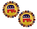 "Cloisonne earrings surrounded by red, white and blue Swarovski Crystals in goldplate and featuring the Republican logo. Size: 0.75""."