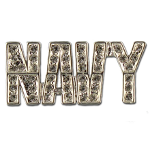 "Support the Navy! Diamond like Swarovski crystal, silver-plate brooch/pin. 1.25 ""W x 0.50""H."