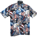 A beautiful patriotic design with eagles and Flags that celebrates American values and ideals. This shirt is made of 100% combed cotton and is made in the USA. It features matched pockets, real coconut buttons, double-stitching, and side vents so shirt can be worn outside or tucked in.