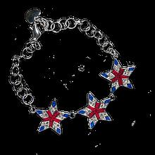 Elegant Star Bracelet with Red and Blue Enamel and Diamond-like Swarovski Crystals.