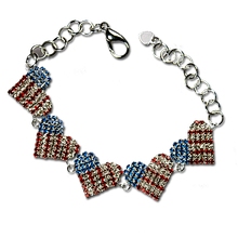 Patriotic 5 Heart Crystal bracelet is a stunning addition to your collection. Goldplate with Red, White and Blue Crystals.