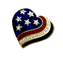 Patriotic red, white and blue enamel heart shaped brooch/pin with diamond like Swarovski Crystals. Gold-plate.