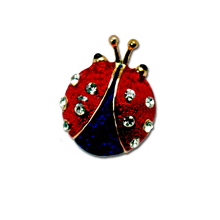 """Red and Blue Enamel and Diamond-like Swarovski Crystals. Approx 1""""."""