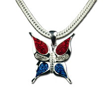 Silverplate with Red, White and Blue Swarovski Crystals.