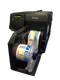 Epson TM-C7500 color label printer shown with the optional label rewinder. Epson TM-C7500 is the fastest Epson label printer capable of printing at speeds of 11.6 inches per second at print resolutions of 1200 dpi.