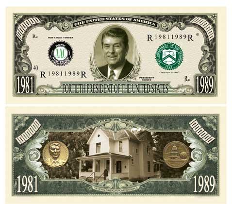PRESIDENT RONALD REAGAN COMM 1 MILLION USA DOLLAR BILL