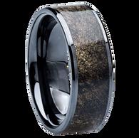 8 mm Unique Mens Wedding Bands - Black Ceramic & Buckeye wood Inlay - BC115M
