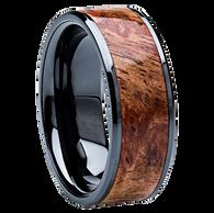 8 mm Unique Mens Wedding Bands - Black Ceramic & Sindora wood Inlay - BCS121M