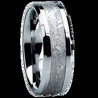 8 mm Tungsten Mens Wedding Bands with Meteorite - T104M