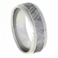 8 mm Mens Wedding Bands with Meteorite - C602M