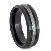 8 mm Mens Wedding Bands with Black Ceramic/Meteorite/Burl - BC150M
