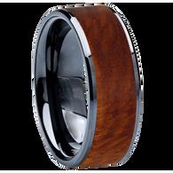 8 mm Wedding Bands - Black Ceramic & Amboyna Wood Inlay - BC115M-Amboyna