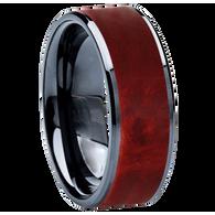 8 mm Wedding Bands - Black Ceramic & Red BEB Wood Inlay - BC115M-RedBEB