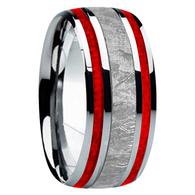 9 mm Meteorite, Mens Wedding Bands - M740FS-Red