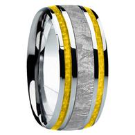 9 mm Meteorite, Mens Wedding Bands - M740FS-Yellow