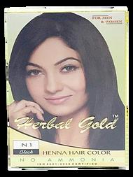 HERBAL GOLD Henna Hair Color  N1 Black 6 pouch packs/Box(HERBAL GOLD 植物染发剂 N1 黑色 6小包/盒)