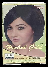 HERBAL GOLD Henna Hair Color N2 Natural Black 6 pouch packs/Box(HERBAL GOLD 植物染发剂 N2 自然黑 6小包/盒)