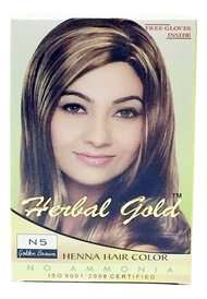 HERBAL GOLD Henna Hair Color  N5 Golden Brown 6 pouch packs/Box(HERBAL GOLD 植物染发剂 N5 金褐色 6小包/盒)